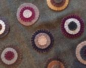 Primitive Folk Art Flower Penny Rug