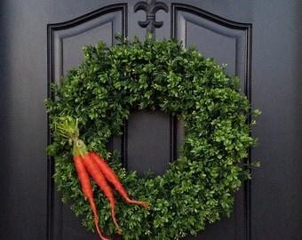EASTER WREATHS, Easter Decor, Spring Boxwood Wreaths, Spring Wreaths, Easter Wreath for Door, Welcome Wreaths, Carrot Decor for Easter