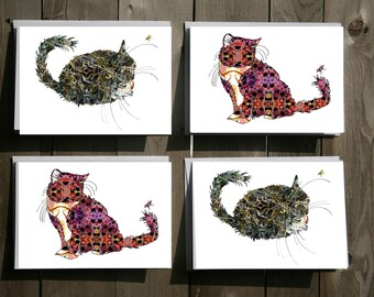Cats Note Card Set of 4, 8 or 12 Cat Lover Gift Set