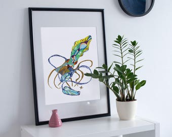 Squid Limited Edition Sealife Art Print // Fish Octopus Tentacles Patterned Ocean Sea Beach Home Decor // 13x19, 11x14, 8.5x11