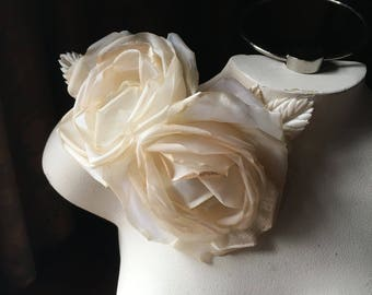 Deep Ivory Double Silk Rose for Bridal, Millinery, Derby, Ascot MF