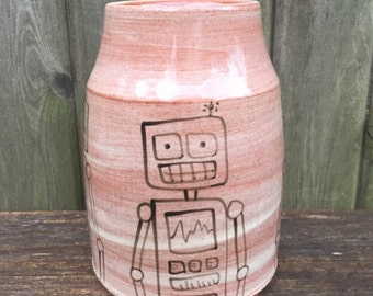 Small Vase With Robots
