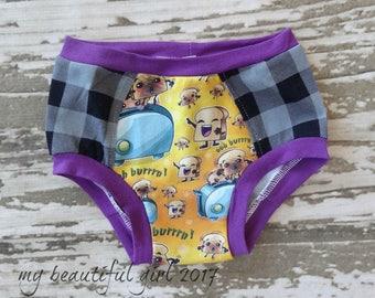Ooh Burn Underwear - You Choose Size, panty underwear, boy girl toddler, elastic free cotton, neutral undies fun, boutique ooak, food stripe