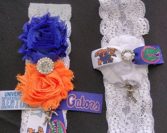 House Divided Florida Gators Inspired vs University of Kentucky Wildcats Inspired Wedding Garter, Sports Garter, University of Kentucky