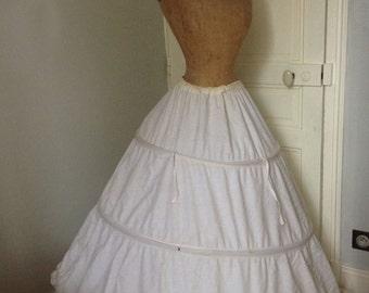Antique metal Hoop Skirt, Antique french Crinoline, cotton petticoat