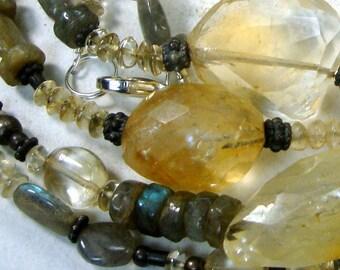 5 Foot Long REAL Semi Precious Bead Necklace, Labradorite, Citrine, Quartz, Crystal, Sterling, Copper, OOAK by Rachelle Starr, Stone,