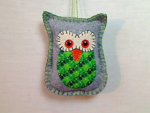 Small Gray Owl Ornament | Holidays | Spring Decor | Felt Owl Ornament | Tree Ornament | St Patrick's Day | Handmade Gift | Folk Art | #4