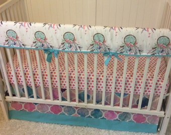 Baby Girl Crib Bedding Set Pink Aqua Dreamcatcher