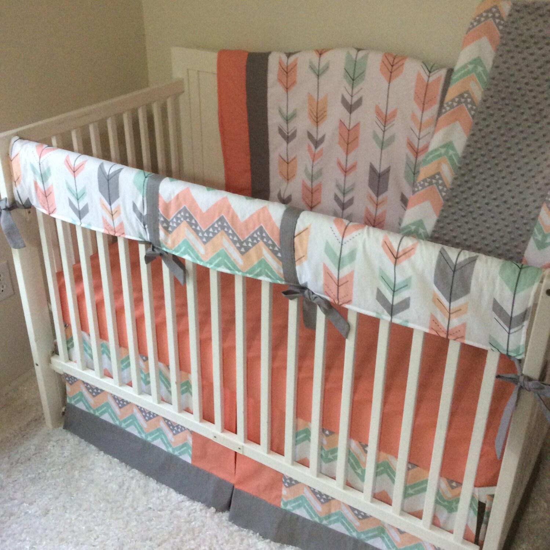 Coral Gray Mint Baby Girl Arrows Crib Bedding Set