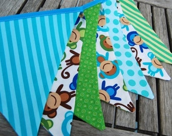 Monkey Banner Decoration -- Birthday Party Bunting in Green, Blue, Aqua -- Jungle Theme -- Photo Photography Prop -- 7 Cloth, Fabric Flags