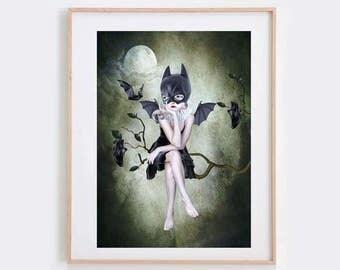 Batgirl Art Print - Bat Girl & Bats - Pop Surrealism Art - Pop Surrealism - Wall Decor - Moonlighting