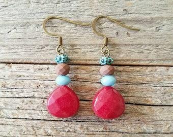 Red jewelry, red earrings, boho jewelry, boho earrings, bohemian jewelry, bohemian earrings, Ruby red jewelry, red boho, rustic jewelry, red