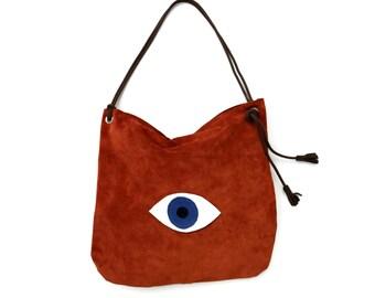 Large Suede Evil Eye Shoulder Bag in Cinnamon. Leather Shopping Bag. Boho Shoulder Bag.  Womens Gift. Gift for Her. Bohemian Bag. -Contina-