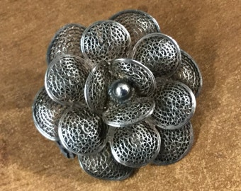 Signed Mexican Sterling Silver Flower Brooch Pin Stacked Petals Openwork Design