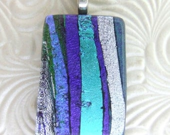 Blue and Purple Ribbons Charm, Handmade Fused Glass Jewelry