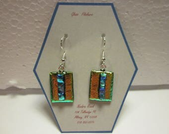 Fused glass earrings-gold green dichroic with blue green textured dichroic