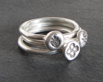 Set of three stackable rings in sterling silver / medieval ring / primitive sun ring / ancient ring / flourish ring / quatrefoil ring