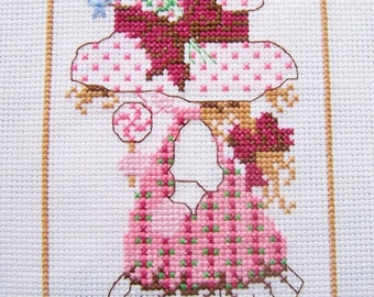 Holly Hobbie Type Design Completed Cross Stitch Sampler, Handstitched Embroidery, Girls Room Wall Art Girl in Pink Dress, Nursery Gift Decor
