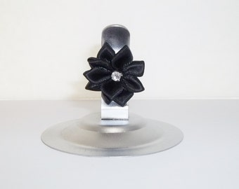 Silver Place Card Holder, Set of 12 Stainless Steel Clip with Black Rhinestone Ribbon Flower, Shimmery Silver Buffet or Table Number Holder