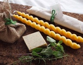 gift set - handmade soap and beeswax candles - rustic favour - stocking stuffer - hostess gift - teacher gift