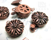 last 3packs -50% / B616BZ / 8Sets / Diameter 12mm - Antique Copper Plated 12mm Boxed Filigree Clasps Findings.