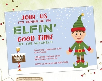 Christmas Party Invitation-Elf Invitation-Holiday Party-Holiday Open House Invitation-Snow| Digital File OR Printed