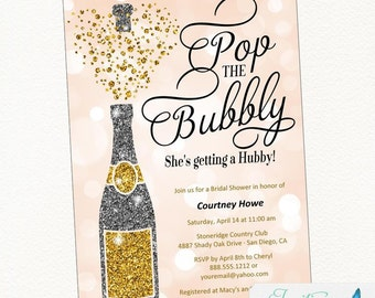 Bridal Shower Invitation | Pop the Bubbly She's Getting a Hubby | Champagne Invitation | Bridal Shower Invitation |  Bachelorette Party