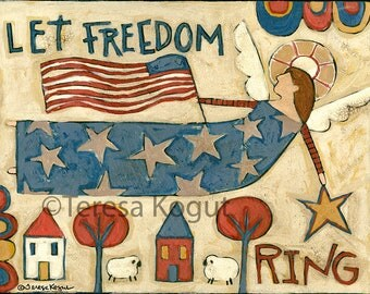 Americana | USA | Wall Art| Wall decor | Let Freedom Ring | 8x10 print | Teresa Kogut