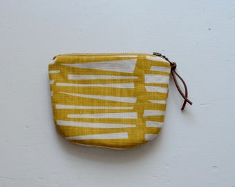 Yellow Woodpile Padded Round Zipper Pouch / Coin Purse / Gadget / Cosmetic Bag - READY TO SHIP