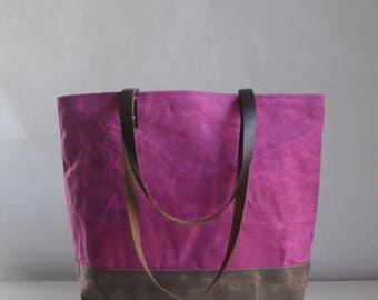 Sangria Waxed Canvas Tote Bag with Leather Straps - Ready to Ship