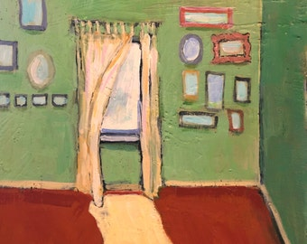 "Remembering 1971 - Original Acrylic Oil Encaustic Interior Painting - 10""x 10"""