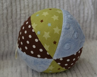 Cloth Jingle Ball Baby Boy Toy with green and brown Star Fabric and minky