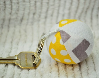 Yellow and Gray Chevron Mini Fabric Jingle Ball Keychain