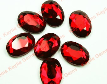 Mirror Glass Cabochon cab 18x13 Oval Faceted Table Cut-Ruby- 4pcs