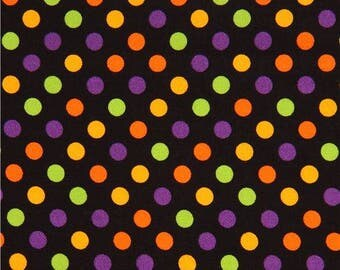 Black Fabric with Purple Orange and Lime Dots by Maywoods Studios  (by the yard)