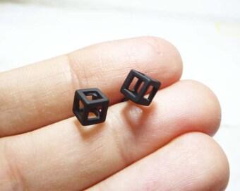 Open Cube Stud Earrings, Black Cube Earrings