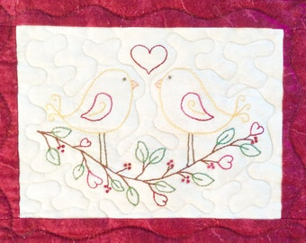 Love Birds for Seasons embroidery quilt Pattern download