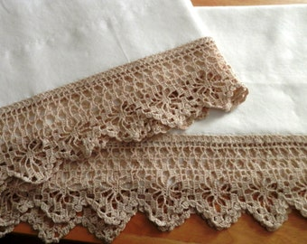 White Pillowcases, Spider-Web Edging in Natural/Caramel