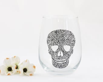 Skull wine glass - Hand painted stemless glass