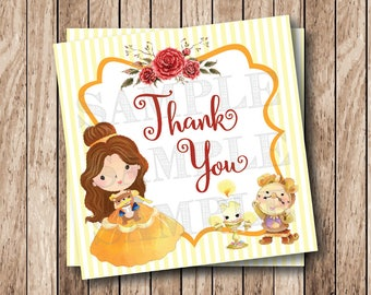 Instant Download Princess Belle Tags, Printable Belle Party Tags, Printable BelleThank You Tags, Beauty and the Beast Birthday Party Tags