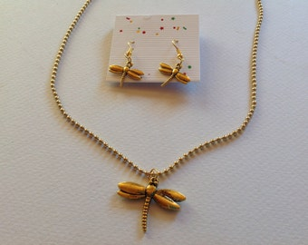 Gold Dragonfly Necklace and Earring Set