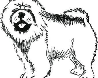 Chow Chow dog pencil sketched machine embroidery design
