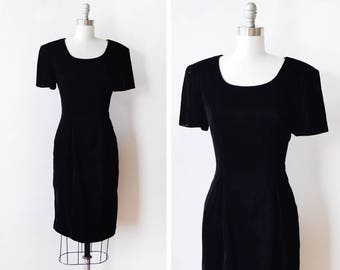 80s black velvet dress, vintage velvet dress, 1980s velvet cocktail dress, medium m