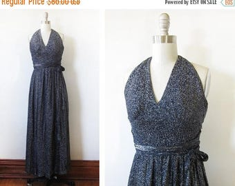 50% OFF SALE 70s disco dress, vintage 1970s navy metallic maxi dress, lurex halter dress, xxsmall dress