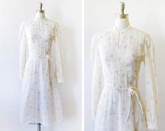 70s floral dress, vintage 1970s white and purple boho dress, long sleeve prairie dress, small s