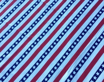 Vintage America Fabric Piece Stars & Stripes 60's 70's Love, Woodstock, Flag, Red, White, Blue Hippie Material Home Decor, Sew, Project