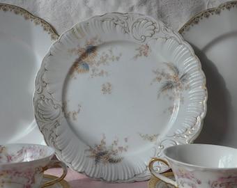 Two Limoges Porcelain Tea Cups and Cake Plates/Antique C. 1900/Cottage Chic Mismatched Pink Rose and Gilt Limoges Porcelain/Six Pieces Total