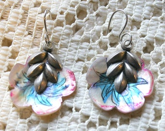 Hand Painted Vintage Mother of Pearl Flower Earrings - pink and blue - Silver Sterling Ear Wires