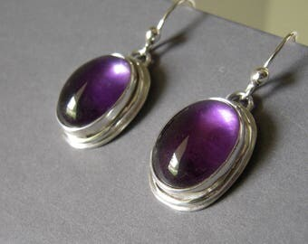 Amethyst Sterling Earrings, Dark Amethyst Sterling Silver Hand Forged Dangle Earrings, Gemstone Cabochon Amethyst Earrings, Hallmarked 92.5