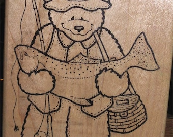 "Rubber Stamp BEAR FISHERMAN # R0672 Darcie's Country Folk 1994 Large 4-1/2"" x 3-1/4"" Scrapbook Cards Craft Supplies"